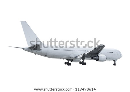 Real jet aircraft. Isolated on white background. - stock photo