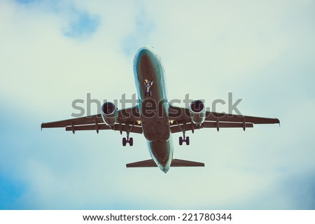 Real jet aircraft. Passenger airplane - stock photo