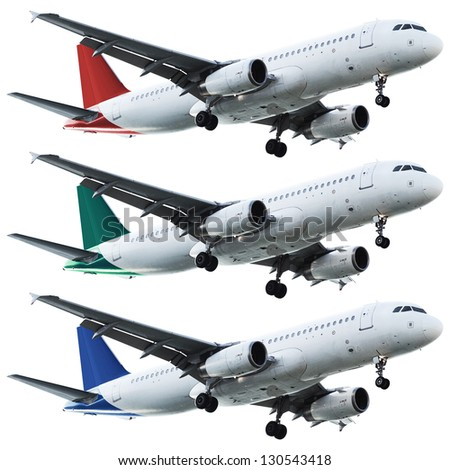 Real jet aircrafts set. Isolated on white background. - stock photo