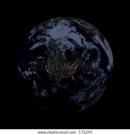 Real looking Earth planet. Night, lights of cities, clouded. Globe is accurate, like in reality. - stock photo