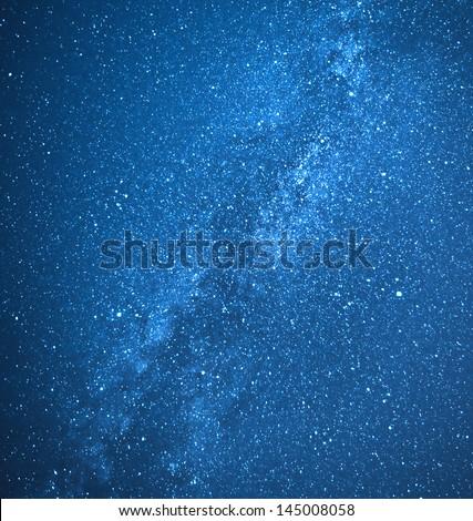 Real milky way galaxy and stars - stock photo
