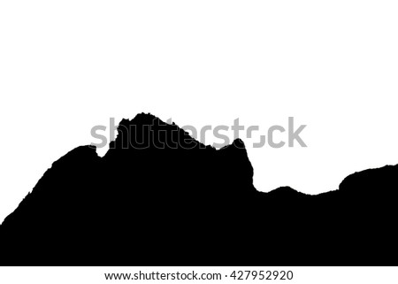 hill silhouette black and white. real mountain silhouette profile growing business chart by pink hill symbolic background illustration black and white