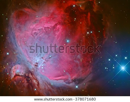 Real nebulae in the constellation Orion called Orion nebula  taken with CCD camera and wide field telescope - stock photo