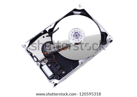real open hard drive isolated on white ackground - stock photo