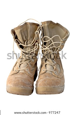 Real pair of U.S. Army boots that served in Iraq. You can still see the mud in the lower seams. Focus = front laces.