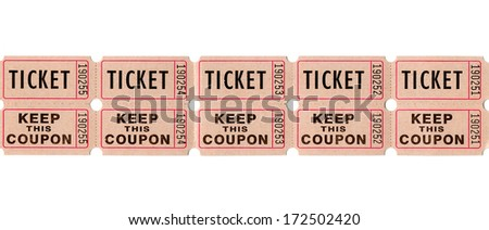 Real paper retro vintage ticket stub for movies, cinema, raffle event or performance, isolated on white background - stock photo