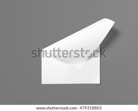Real photo, blank letterhead, flyer, poster isolated on grey to replace your design.  isolated, changeable background. 3D rendering.