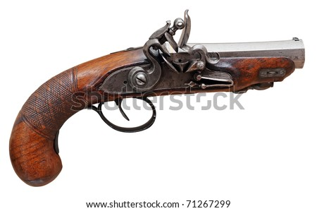 Real pistol XVII th isolated on white, clipping path included