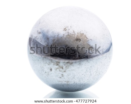 real polished metal sphere isolated on white background