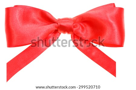 real red satin ribbon bow with vertically cut ends isolated on white background