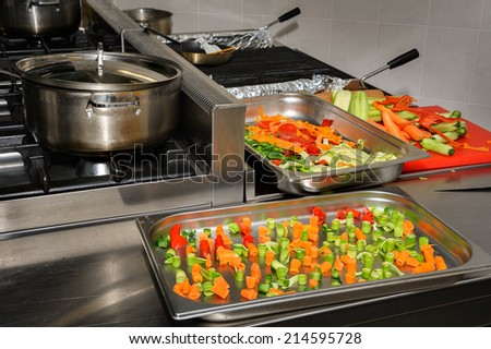 real restaurant kitchen - stock photo