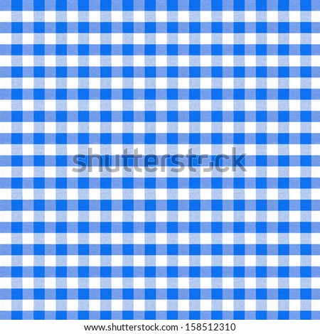 real seamless pattern of blue picnic tablecloth - stock photo