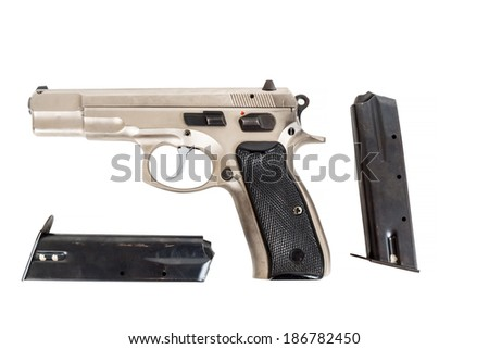 real Semi automatic gun isolated on white background - stock photo