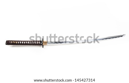 Real sharp traditional Japanese sword on a white background - stock photo