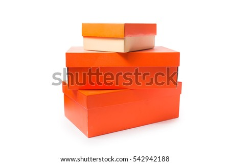Real shoes boxes on white background