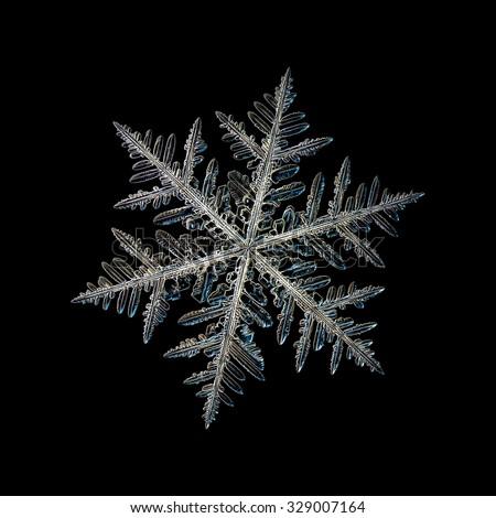 Real snowflake photo (single stellar dendrite crystal), isolated on black background - stock photo