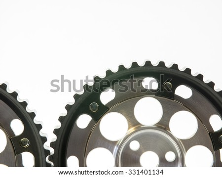 real stainless and aluminum steel gear isolated over white background - stock photo