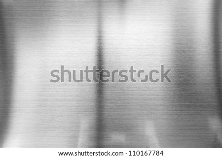 Real stainless steel, reflection, abstract grey background - stock photo
