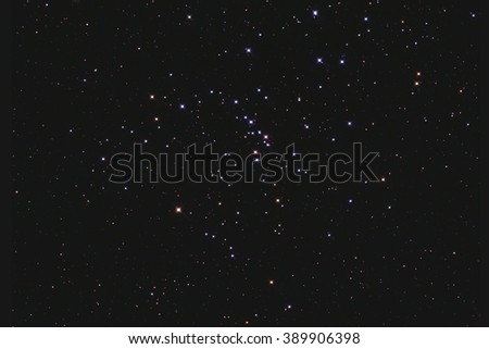 Real star cluster Messier48 in Hydra taken with CCD camera and telescope - stock photo