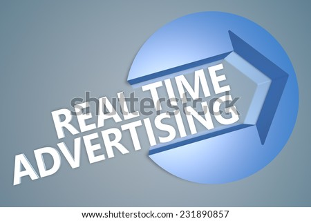 Real Time Advertising - 3d text render illustration concept with a arrow in a circle on blue-grey background