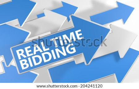 Real Time Bidding 3d render concept with blue and white arrows flying over a white background. - stock photo