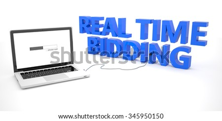 Real Time Bidding - laptop notebook computer connected to a word on white background. 3d render illustration. - stock photo