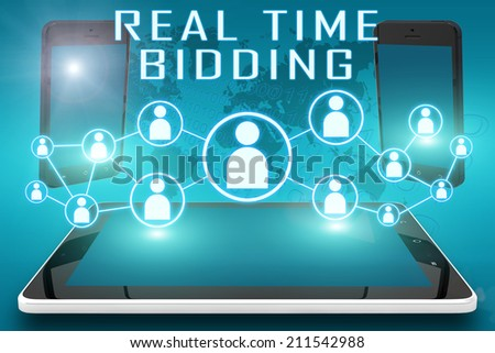 Real Time Bidding - text illustration with social icons and tablet computer and mobile cellphones on cyan digital world map background - stock photo