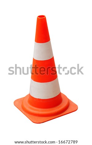 Real traffic cone isolated w/ clipping path - stock photo