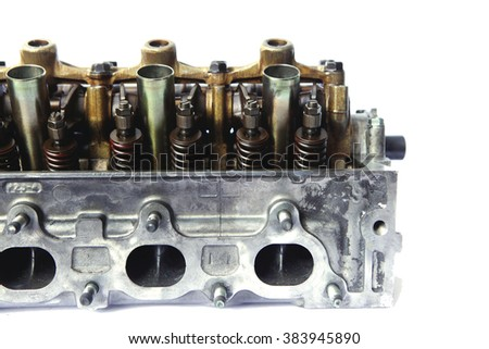 real used car motor engine part isolated on white background - stock photo