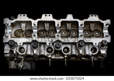 real used car motor head enginer - stock photo