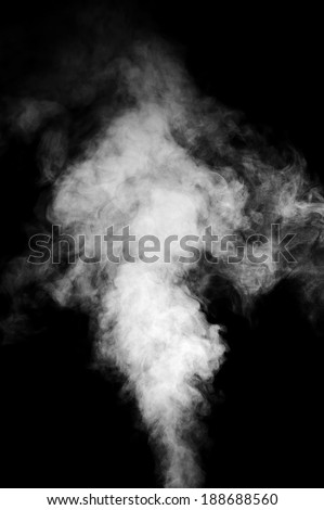 Real white steam isolated on black background with visible droplets. - stock photo