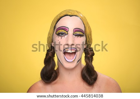 Real Women Turned Comic Strip Characters With Cosmetics - stock photo
