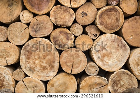 real wood logs pile background - stock photo