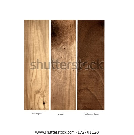 real wood samples of Yew-English, Cherry wood and Mahogany-Cuban on a white background - stock photo