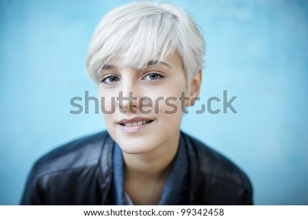 real young beautiful woman in casual style - stock photo