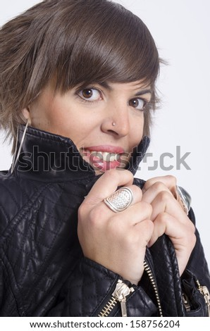 real young cute woman posing over a white background