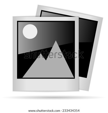 Realiatic Polaroid photo frames with picture isolated on white background - stock photo