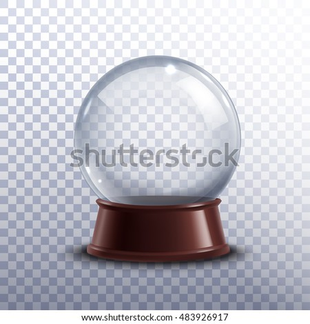Realisitc 3d snow globe toy isolated on transparent background  illustration