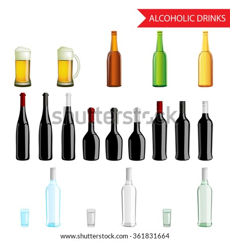Realistic Alcoholic Drinks and beverages icon set isolated