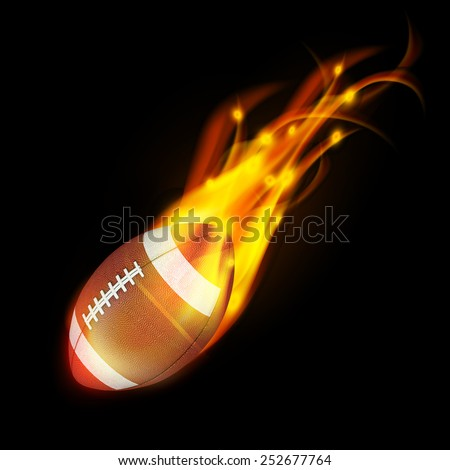 Realistic American football in the fire.3d Illustration on dark background.  - stock photo