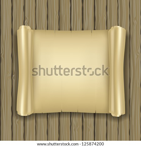 realistic ancient scrolls on wooden background - stock photo