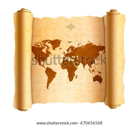 Realistic ancient world map on old textured scroll isolated on white