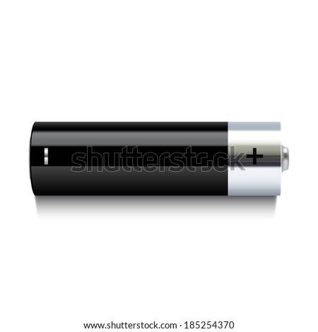 Realistic battery icon - stock photo