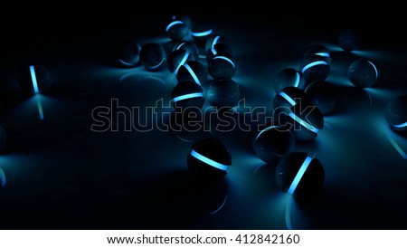 Realistic black glossy plastic spheres with blue luminescent cores background. Technology abstract structure composition. Depth of field settings. 3d rendering. - stock photo