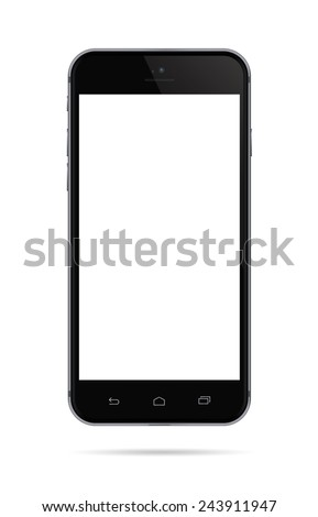 Realistic black mobile phone with blank screen area for copy space on white background.