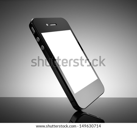 Realistic black smartphone with a white screen - stock photo