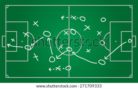 Realistic blackboard drawing a soccer or football game strategy.