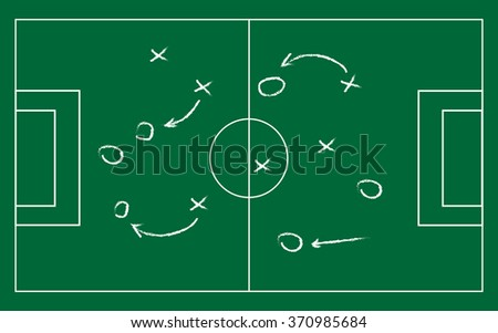 Realistic blackboard drawing a soccer or football game strategy. illustration.