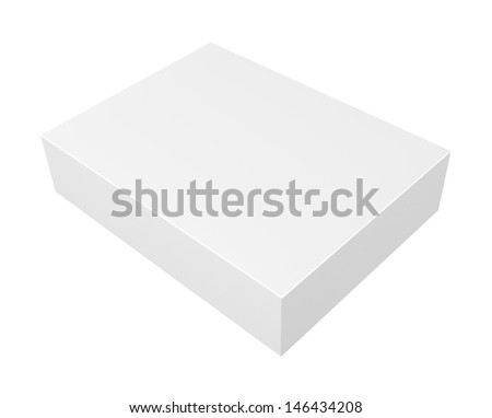 Realistic blank box isolated on white background