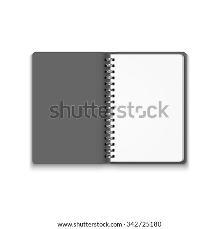 Realistic Blank Open Notebook Isolated on White Background. Spiral Notepad, Mock Up  - stock photo